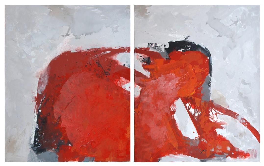 Christine Dobler: Rot / Mischtechnik auf Leinwand 2-teilig