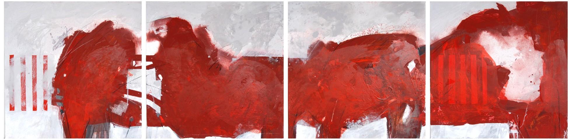 Christine Dobler: Rot / Mischtechnik auf Leinwand 4-teilig